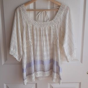 Holding Horses Plaid Shani Peasant Top Size 4